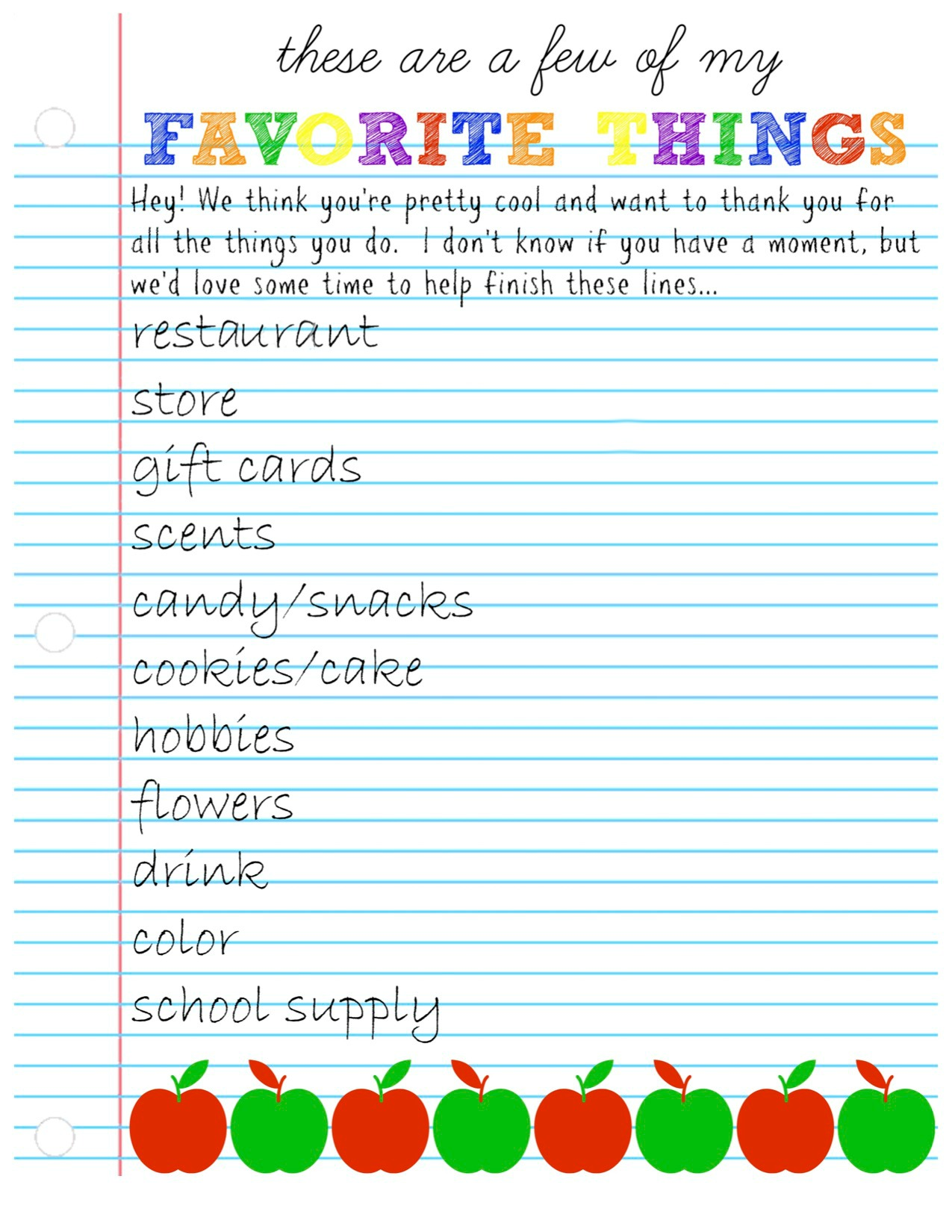 photo relating to Teacher Favorite Things Questionnaire Printable known as Instructor Appreciation 7 days: Questionnaire Present Designs