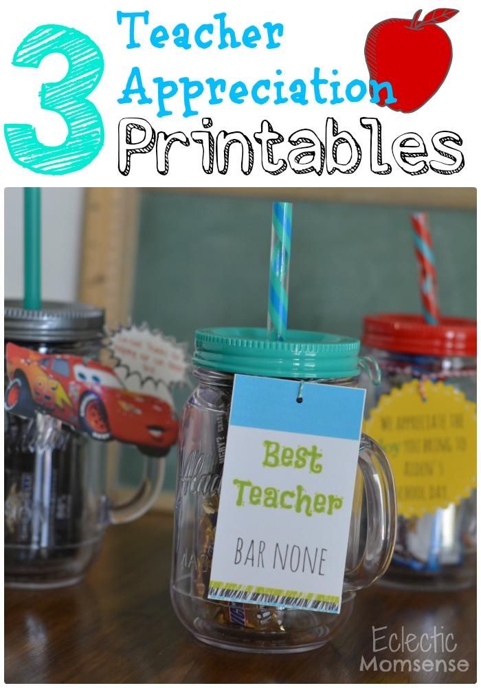 Teacher appreciation week, printables, candy bar sayings