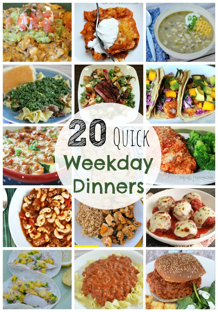 20 Quick Weekday Dinners- a month of weekday meal planning