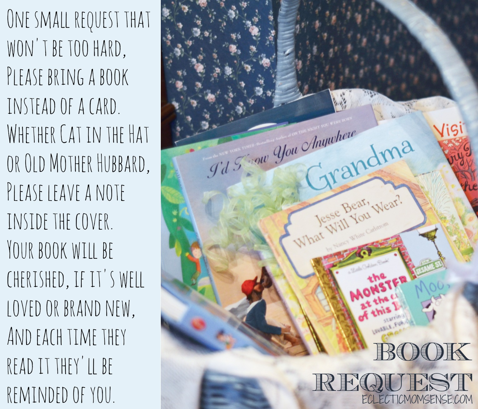 Book Request Poem- Storybook Baby Shower Ideas #party #babyshower