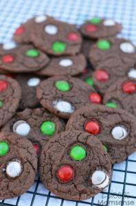 Chocolate Mint M&M Cake Batter Cookies