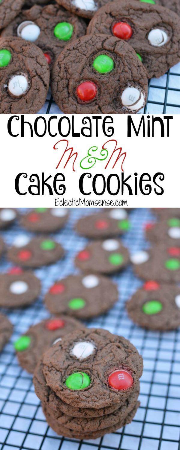 Chocolate Mint M&M Cake Batter Cookies #recipe