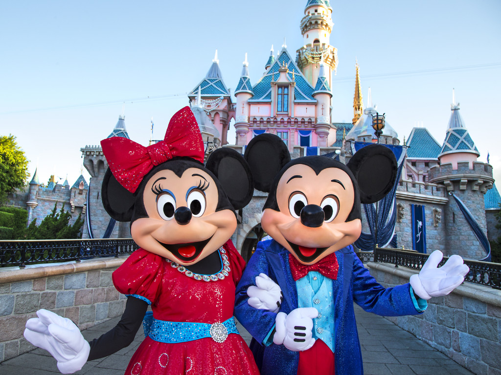 Mickey Mouse and Minnie Mouse look dazzling in their sparkling, new costumes, created especially for the Diamond Celebration at the Disneyland Resort. Mickey and his friends will debut their new costumes when the Diamond Celebration begins on May 22, 2015.  #Disneyland60