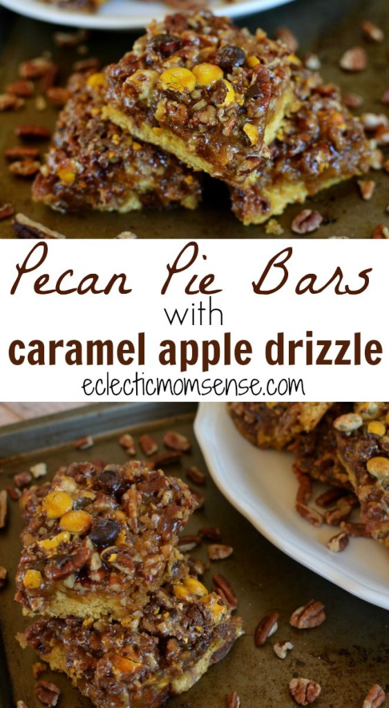 Pecan Pie Bars with Caramel Apple Drizzle- A delicious cookie/cake hybrid crust with an easy pecan pie filling and a drizzle of homemade apple juice caramel. #BakeInTheFun [ad]