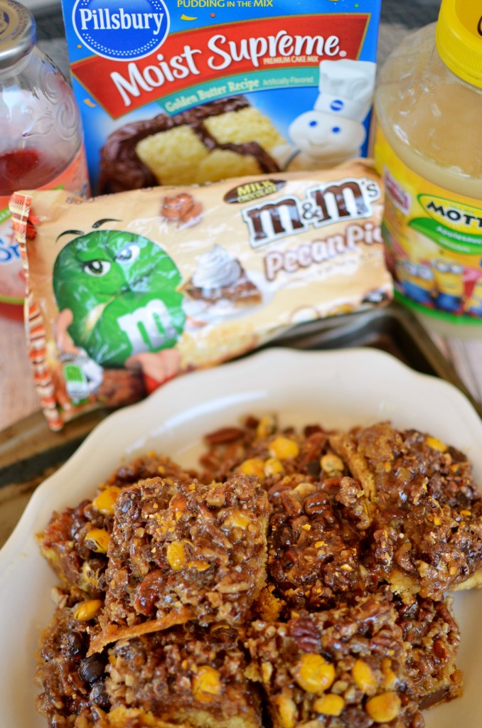 Pecan Pie Bars with Caramel Apple Drizzle- A delicious cookie/cake hybrid crust with an easy pecan pie filling and drizzle of homemade apple juice caramel. #BakeInTheFun [ad] #bakeinthefuncontest
