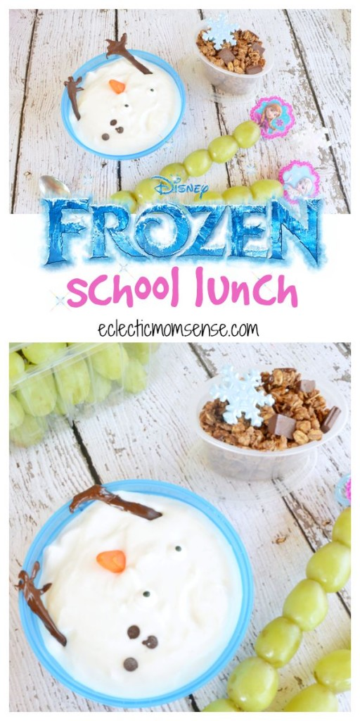 Disney FROZEN School Lunch | melted Olaf greek yogurt., frozen fractal grapes, and reindeer munch granola #DisneyFROZENGoesFresh [ad]