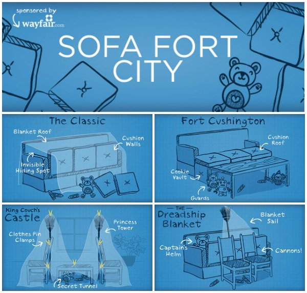 How to Build a Sofa Fort + Printable Fort Building Kit #sofafortcity AD