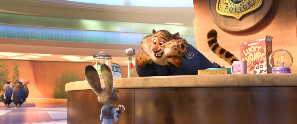 ZOOTOPIA –Pictured (L-R): Judy Hopps & Clawhauser. ©2016 Disney. All Rights Reserved.