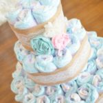 DIY Vintage Lace & Burlap Diaper Cake + Shabby Chic Baby Shower.