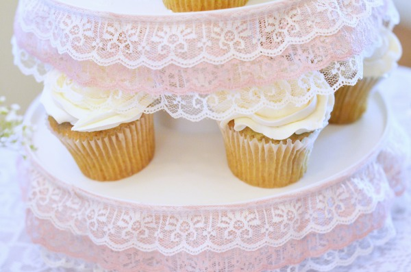Shabby Chic Baby Shower | Lace embellished cupcake tower