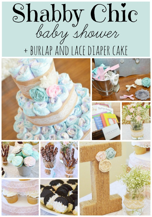 Shabby Chic Baby Shower + DIY Vintage Lace & Burlap Diaper Cake. AD @Costco #SuperAbsorbent