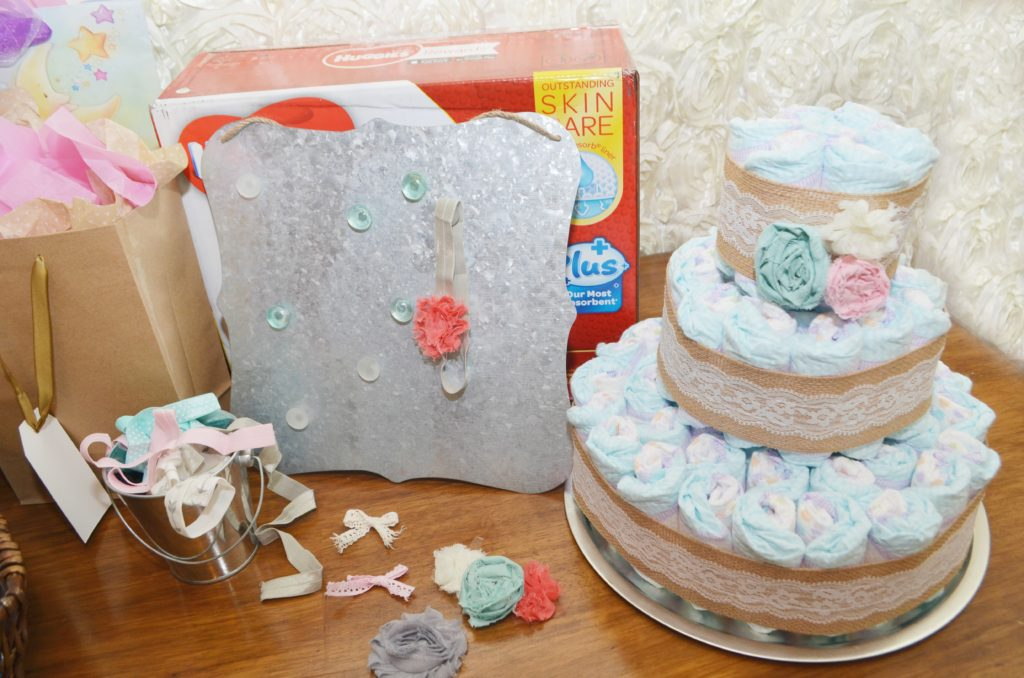 DIY Vintage Lace & Burlap Diaper Cake + Shabby Chic Baby Shower. AD @Costco #SuperAbsorbent