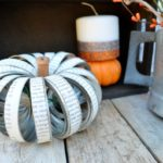 Mason Jar Lid Pumpkin + Glitter Pillar Candles