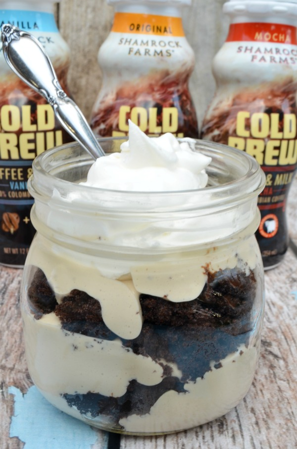 Mocha Cheesecake Trifle. Delicious layers of cake and cold brew cheesecake filling. #ad