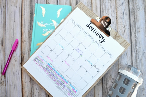 Printable Calendar with Habit Tracking.