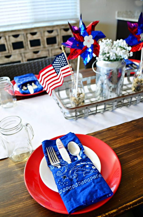 Red, White, and Blue Farmhouse Table Decor