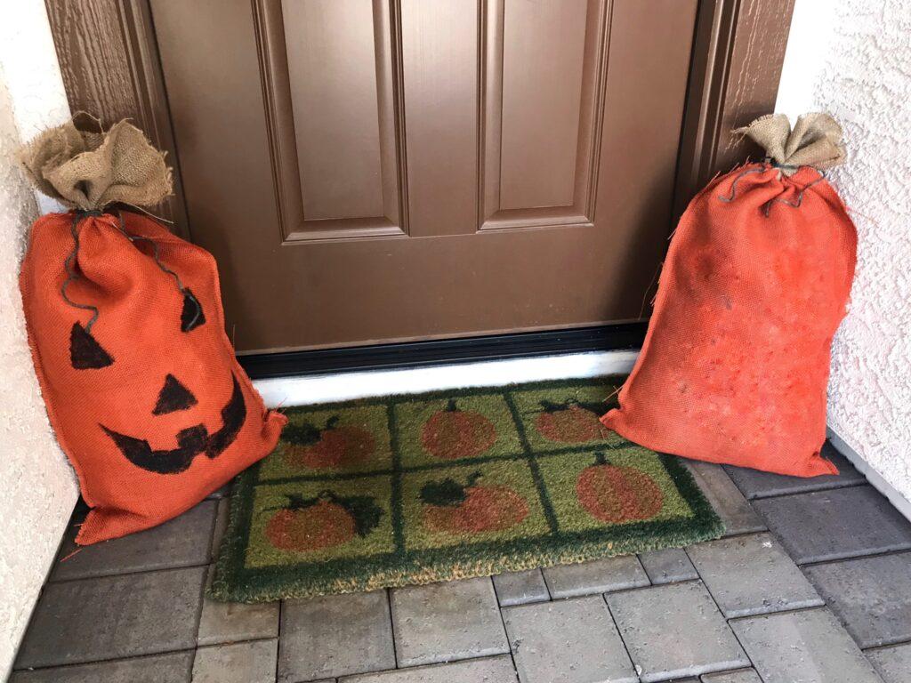 reversible burlap pumpkin bag