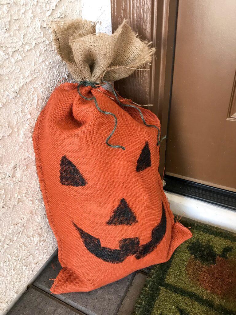Burlap jack o'lantern sack