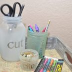 Frosted Mason Jar Desk Organizer
