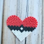 Perler Bead Heart Pattern - Directions for making a pixelated heart shaped pokéball.