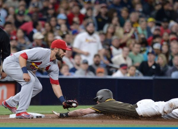 Apr 22, 2016; San Diego, CA, USA; St. Louis Cardinals third baseman <a rel=