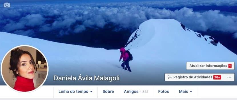 Perfil do Facebook Daniela Malagoli