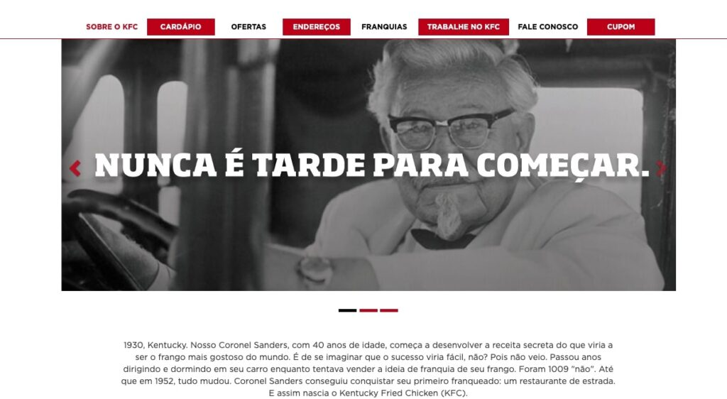 História Coronel Sanders KFC Brasil