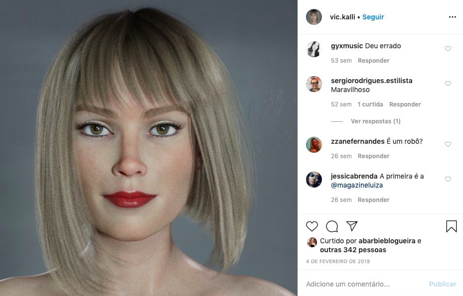 influenciadores virtuais -Vic kalli, a primeira brasileira virtual