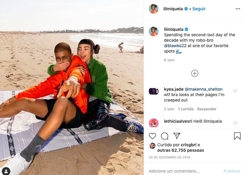 Influenciadores virtuais Lil Miquela e amigo na praia