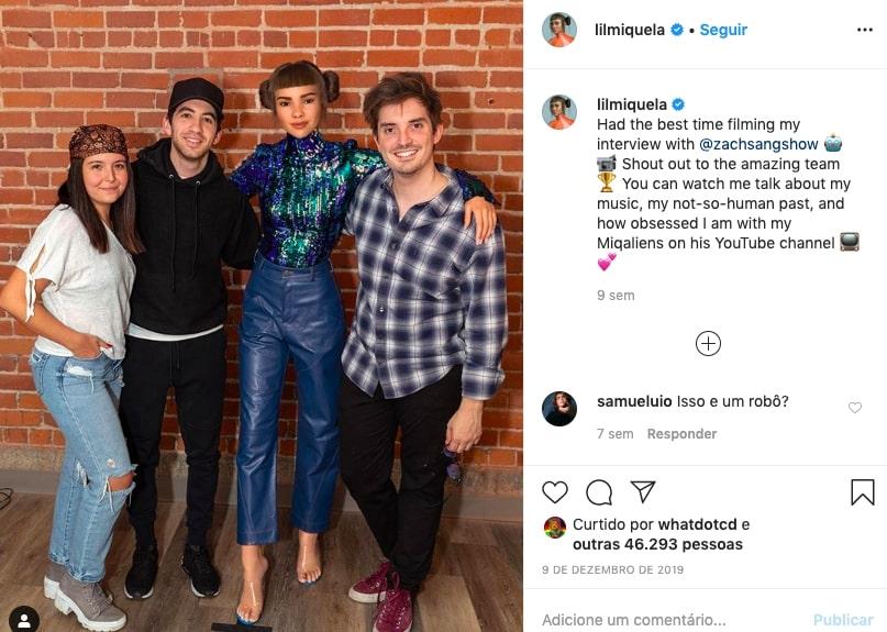 Foto do instagram da influenciadora virtual Lil Miquela com amigos
