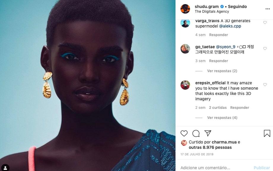 Foto do instagram da influenciadora e modelo virtual Shudu