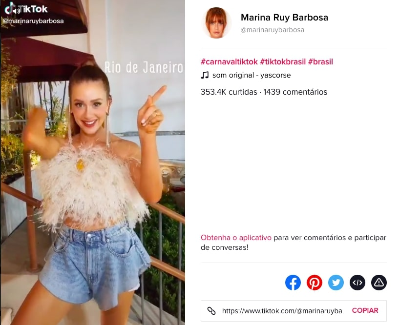 Marina Ruy Barbosa em vídeo para o app TikTok