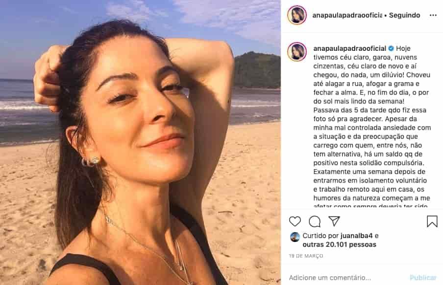 Foto do Instagram Ana Paula Padrão na praia
