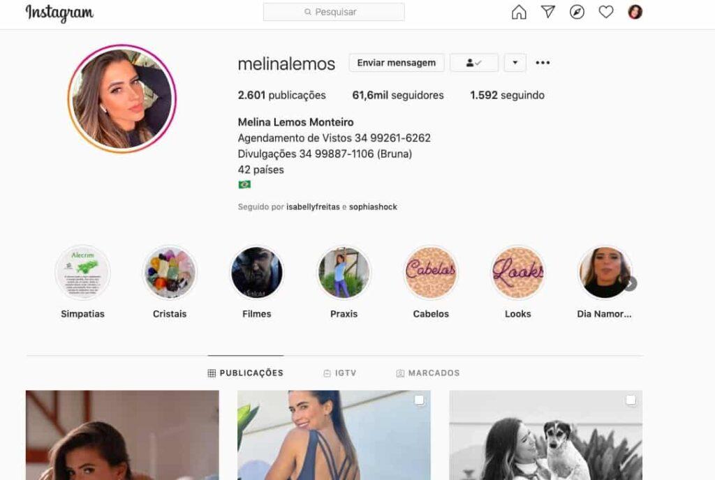 Melina Lemos perfil instagram