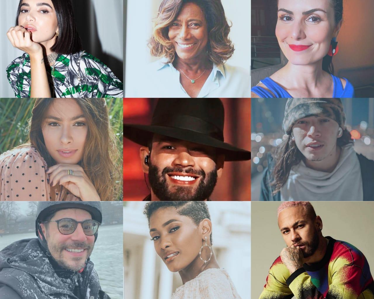 montagem com fotos do instagram influenciadores brasileiros