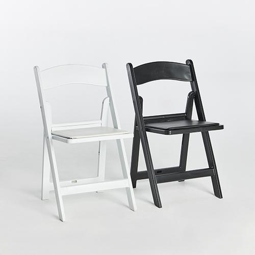 51. Resin Folding Chairs-Black _ White