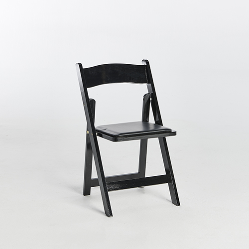 55. Wood Folding Chair-Black