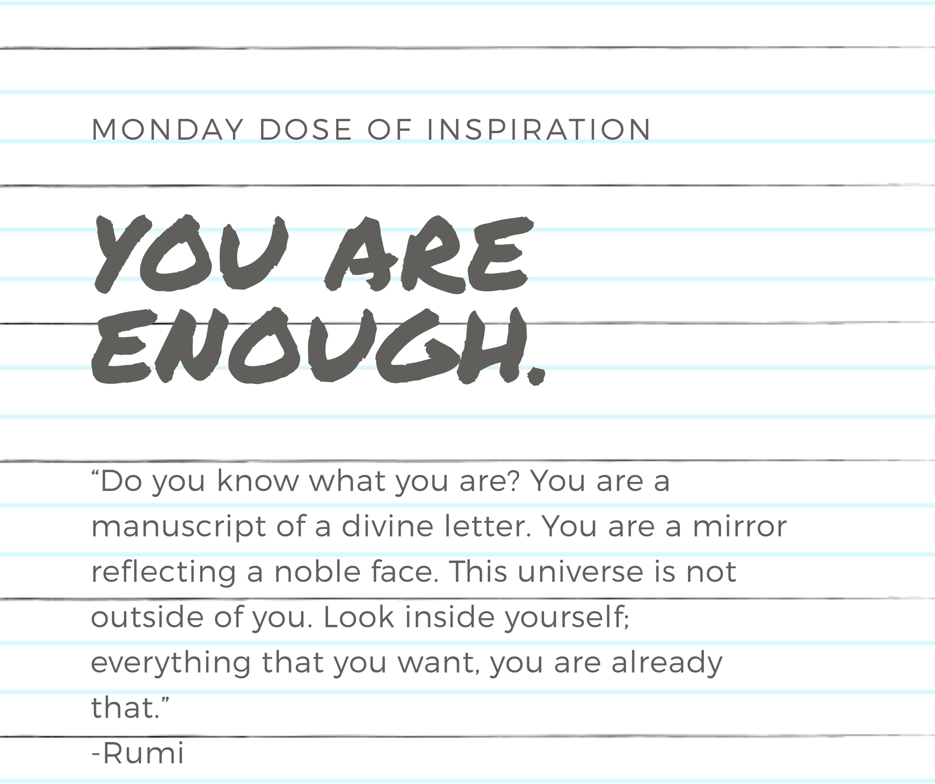 Monday Dose of Inspiration - You Are Enough