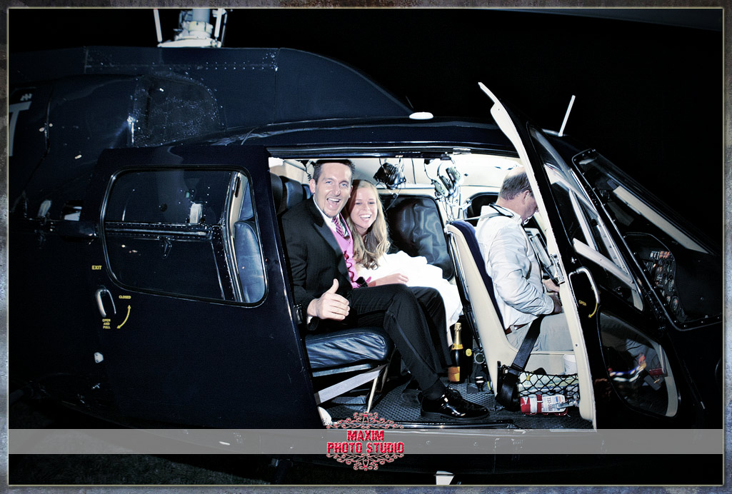 Maxim Photo Studio captured the helicopter takeoff at Drees pavilion wedding