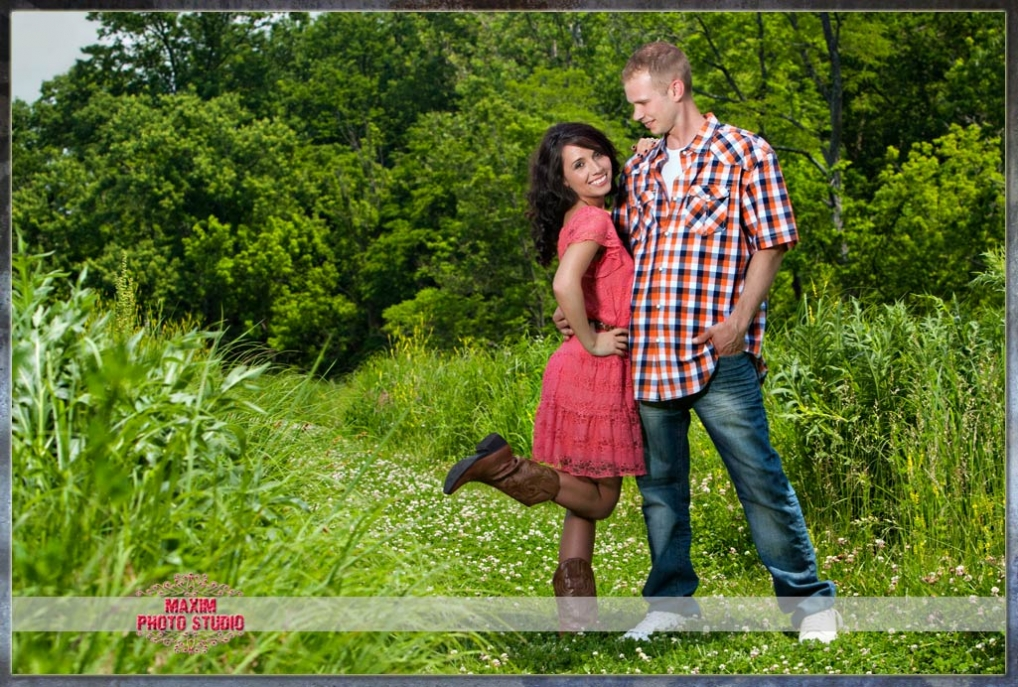 Maxim Photo Studio captured a fun engagement photo in Pioneer Park in Cincinnati