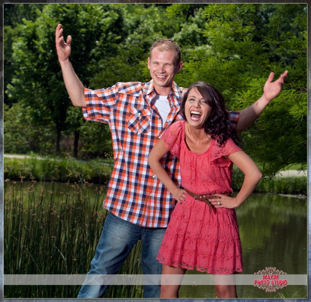 Maxim Photo Studio captured the engagement photo in Pioneer Park in Cincinnati