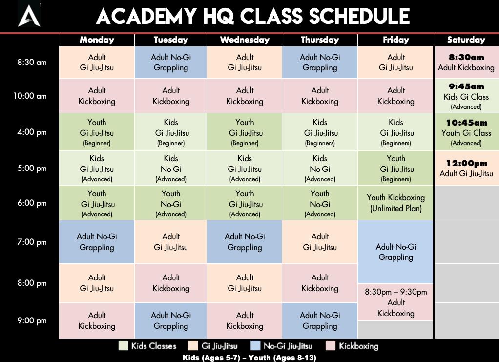 Academy Jiu Jitsu and Kickboxing Schedule