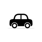 Car icon, vector flat simple cartoon transportation symbol isolated on white. Side view.