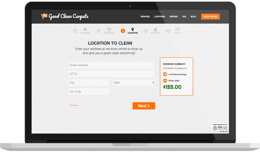 Carpet Cleaning On-Demand Location Dispatch