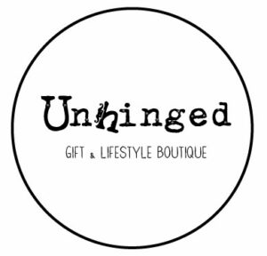 White circle Unhinged logo jpeg