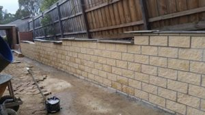 Completed retaining wall