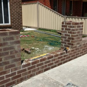 Brick front fence almost finished