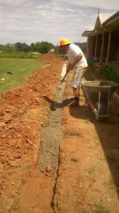 Concrete being prepared for the footing