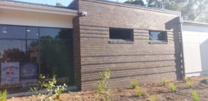 Brick wall with corbal at Wangaratta