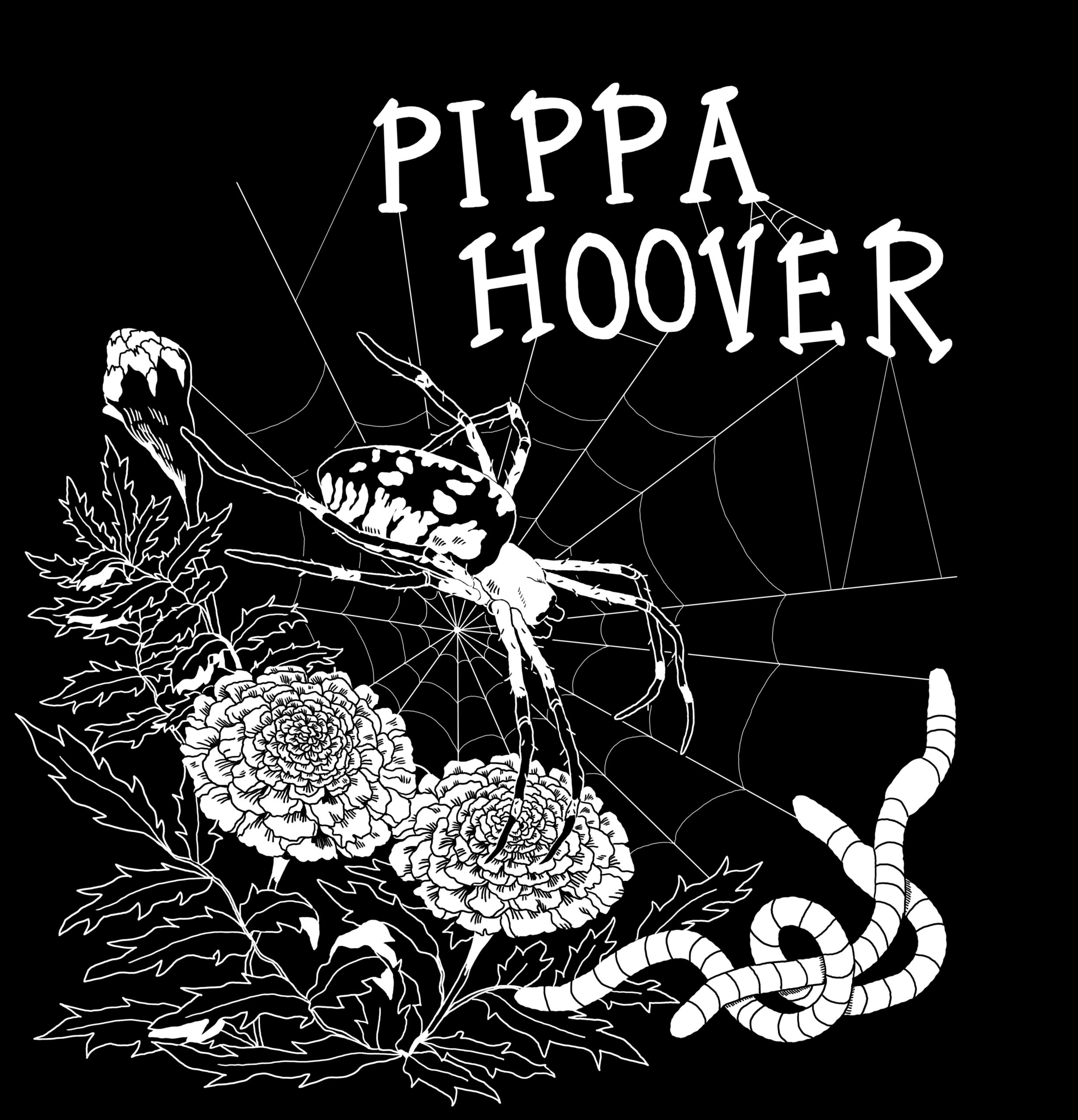 Pippa Hoover Garden Spider logo. <br> Art by Laura Hamon.